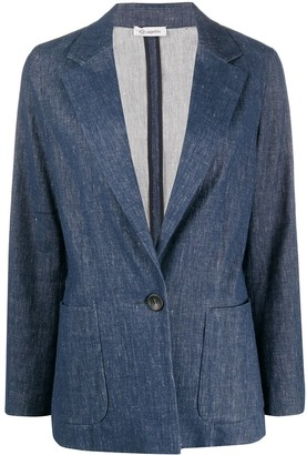 Peserico deep V-neck denim blazer