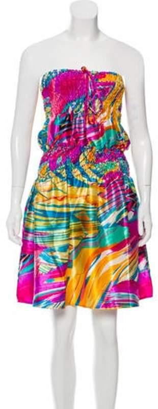 Balenciaga Halter Printed Dress Violet Halter Printed Dress