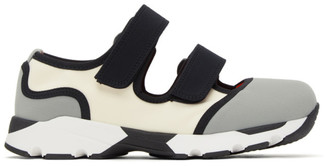 Marni Grey and White Strappy Sneakers