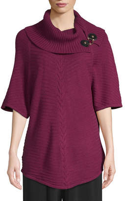 East Fifth east 5th Womens Cowl Neck Short Sleeve Poncho
