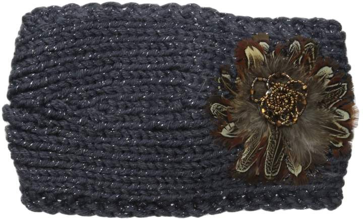 David & Young Women's Solid Headwrap with Feather Applique