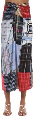 Ganni Print Stretch Silk Satin Midi Skirt