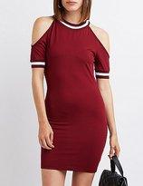 Charlotte Russe Varsity Stripe Cold Shoulder Dress