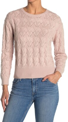 Catherine Malandrino Long Sleeve Crew Neck Pointelle Detailed Top