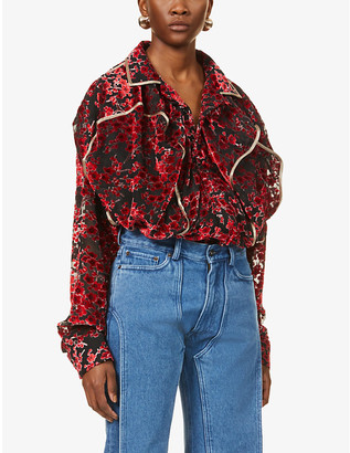 Y/Project Floral-jacquard velvet shirt