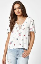 KENDALL + KYLIE Kendall & Kylie Lace-Up Woven T-Shirt