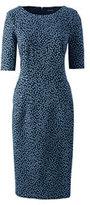 Classic Women's Petite Elbow Sleeve Ponté Sheath Dress-Dusty Lupine Tossed Dots