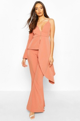 boohoo Occasion Waterfall One Shoulder Blazer