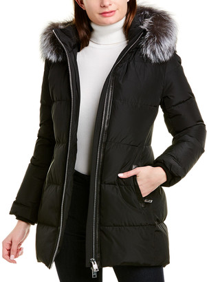 Nicole Benisti Series By Biel Leather-Trim Down Coat