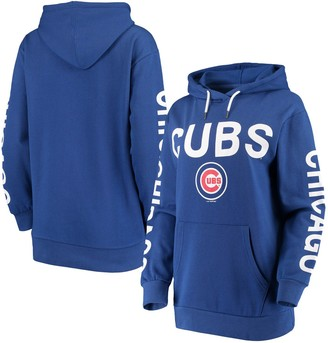 G Iii Women's G-III 4Her by Carl Banks Royal Chicago Cubs Extra Inning Colorblock Pullover Hoodie