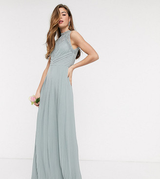 TFNC Tall bridesmaid lace back maxi dress in sage