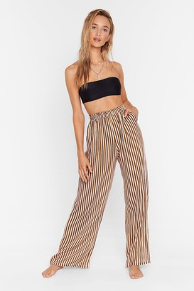 Nasty Gal Womens Straight to the Beach Striped Cover-Up Pants - Mustard