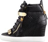 Giuseppe Zanotti Embossed Leather Wedge Sneaker, Black