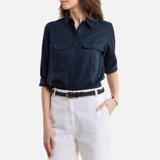 La Redoute Collections Draping Military Shirt with Long Sleeves