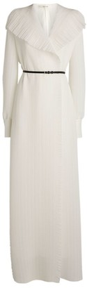 The Row Silk Georgette Shirred Maxi Dress