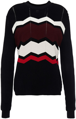 Autumn Cashmere Pointelle-trimmed Intarsia-knit Sweater
