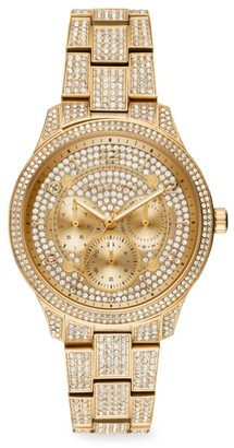 Michael Kors Runway Multifunction Pave Goldtone Stainless Steel Watch