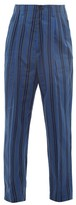 Haider Ackermann High-rise Pleated Striped Cotton-blend Trousers - Mens - Blue Multi