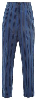 Haider Ackermann High-rise Pleated Striped Cotton-blend Trousers - Blue Multi