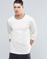 Pretty Green Long Sleeve Top With Paisley Trim In Slim Fit White