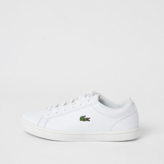 River Island Lacoste white leather lace-up trainers