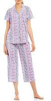 Karen Neuburger Mixed-Striped Capri Pajamas