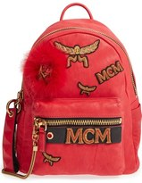 MCM 'Small Stark Insignia' Leather Backpack with Genuine Fox Fur Trim