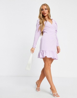 ASOS DESIGN mini wrap dress with gathered sleeve and pep hem in lilac