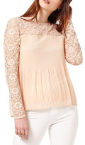 Miss Selfridge Lace Inset Accordion Pleated Top