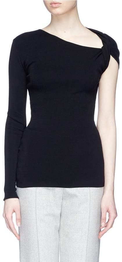 Dion Lee Asymmetric twist sleeve rib knit top