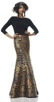 Theia 882946 Animal Print Trumpet Dress