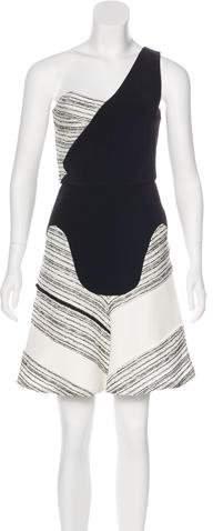 Roland Mouret Colorblock One-Shoulder Dress
