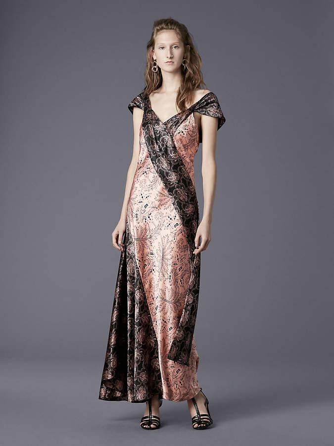Diane von Furstenberg Cap Sleeve Bias Draped Dress