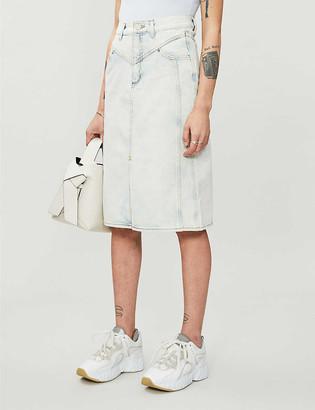 Sandro Abbie high-waisted denim midi skirt