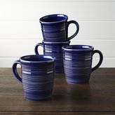 Crate & Barrel Farmhouse Blue Mugs, Set of 4