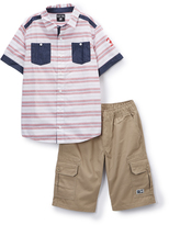 Beverly Hills Polo Club Red Stripe Polo & Cargo Shorts - Toddler & Boys
