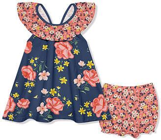 Little Millie Girls' Rompers Coral - Dusty Navy & Coral Floral Ruffle Yoke Dress & Shorts - Infant