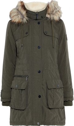 DKNY Faux Fur-trimmed Washed-twill Hooded Parka