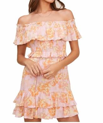 ASTR the Label Women's Off-The-Shoulder Ruffle Detail Riviera Mini Dress