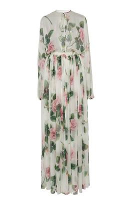 Dolce & Gabbana Floral-Print Silk-Chiffon Maxi Dress