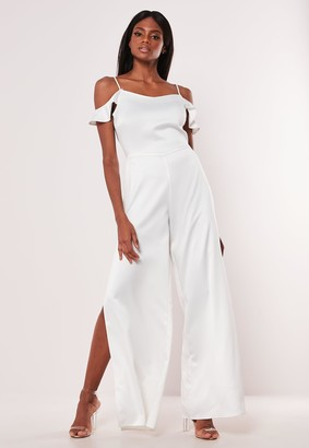 Missguided Tall White Cowl Cold Shoulder Jumpsuit