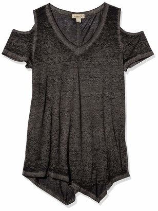 One World ONEWORLD Women's Short Sleeve Cold Shoulder Burnout Tee with Sharkbite Hem