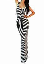 Vivicastle Black White Striped Long Maxi Dress With Belt (, Black/White)