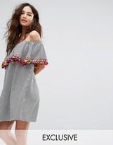 Reclaimed Vintage Inspired Off Shoulder Dress In Gingham With Pom Pom Trim