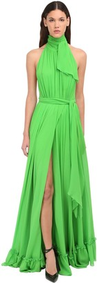 Dundas Halter Neck Silk Satin Long Dress