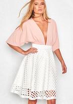 Missy Empire Klara Cream Cut-Out High Waisted Midi Skirt