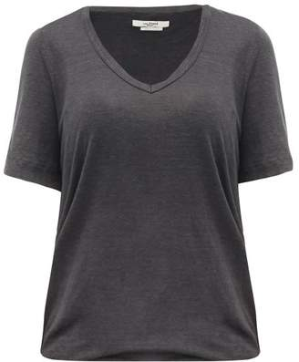 Etoile Isabel Marant Kranger V-neck Linen-jersey T-shirt - Womens - Dark Grey
