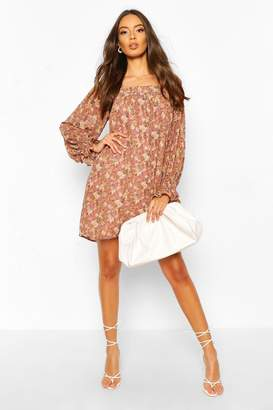 boohoo Foil Floral Print Square Neck Smock Dress