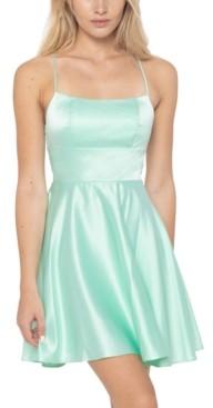 B. Darlin Juniors' Lace-Up Back Fit & Flare Dress
