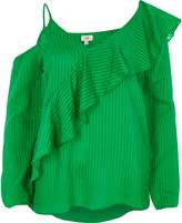 River Island Womens Green ribbed asymmetric bardot frill top